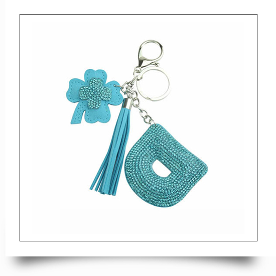 Letter D Crystal Keychain