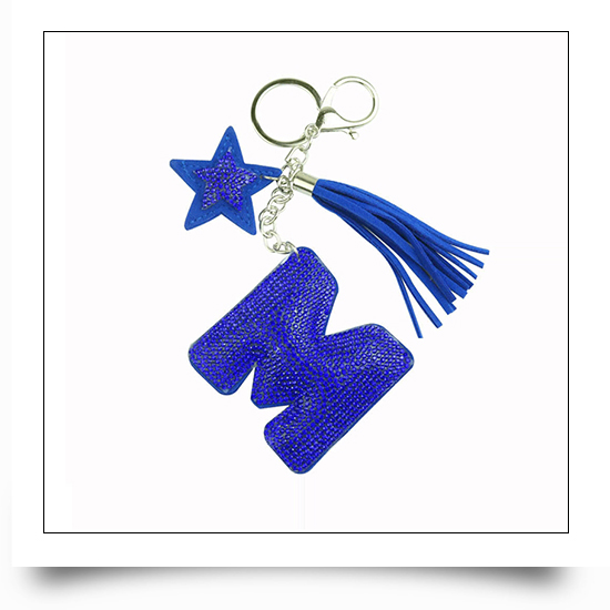 Letter M Crystal Keychain