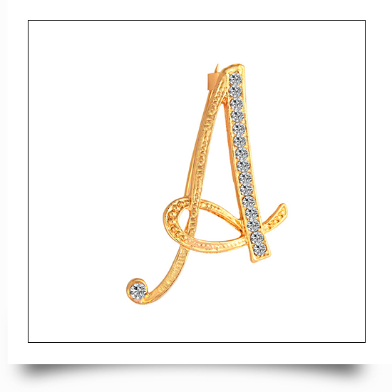 A-Z Gold Metal Crystal Letter Lapel Pin