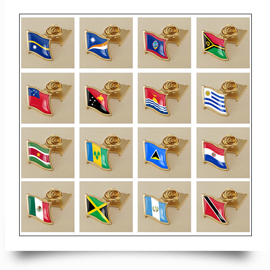 All National Flags Available Printed National Flag Lapel Pin with Epoxy