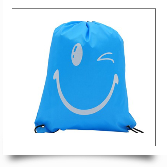 Blue Eco-friendly Reusable Drawstring Backpack