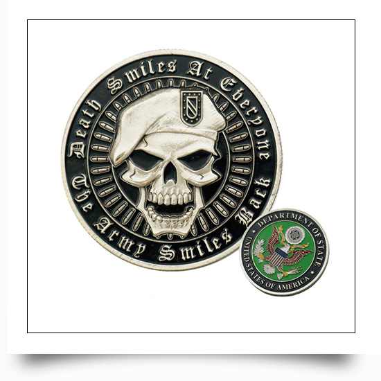 Metal Antique Silver Military Skull Coin