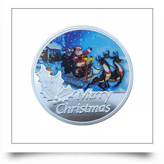 Fine Silver Plated Metal Christmas Coin