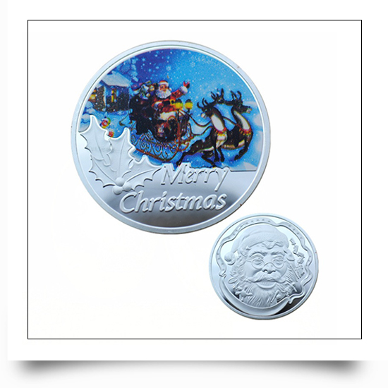 Fine Silver Plated Metal Christmas Coins