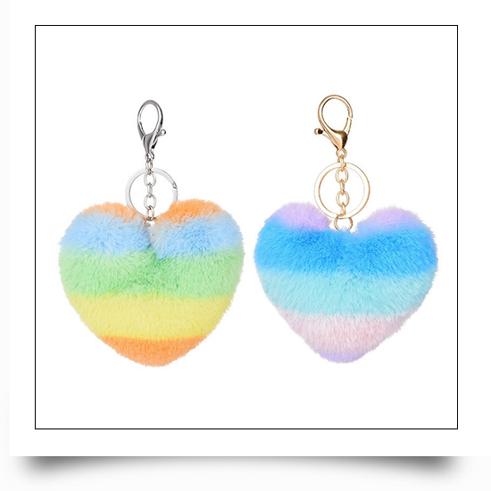 Heart Plush Ball Keychains