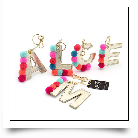Leather Letter Plush Ball Keychains