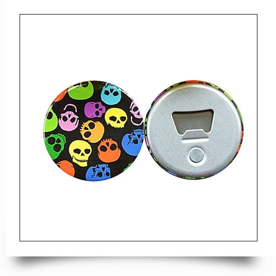 Picture Round Button Tin Bottle Opener