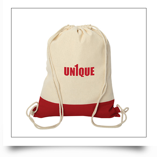 Red Logo Printed Drawstring Bags Two Tone Canvas Sport Backpacks