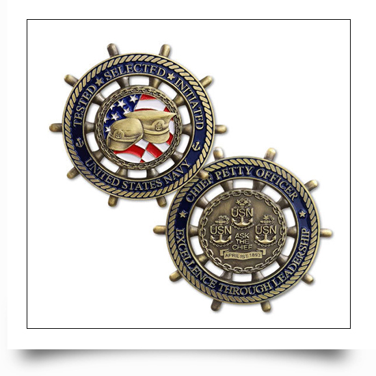 Retro Metal Soft Enamel US Navy Cut Out Coin