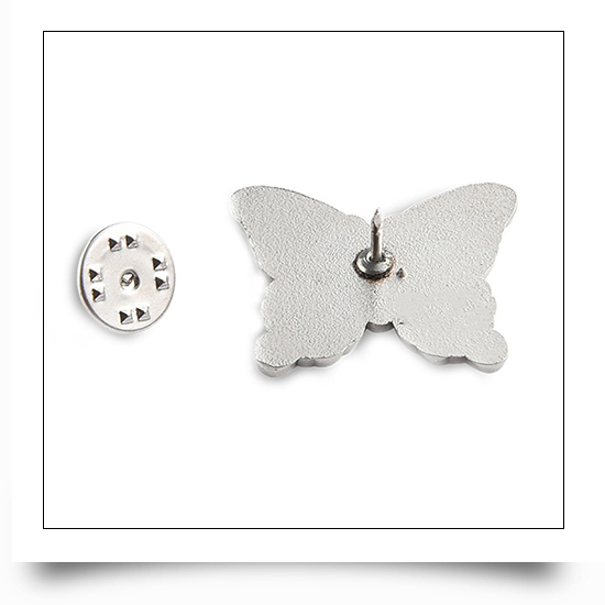 Soft Metal Enamel Butterfly Pin with Epoxy