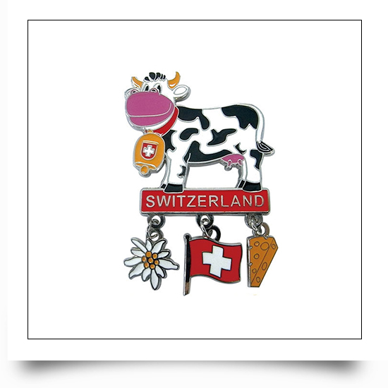 Switzerland Dairy Cattle Fridge Magnet with Charms